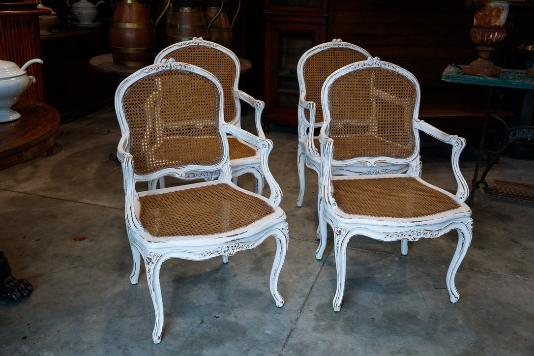 Vintage French White Rattan Chairs