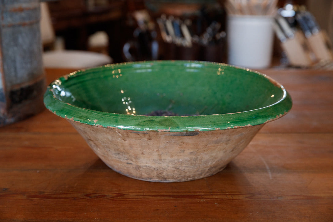 French Provencal Bowl Green Glaze