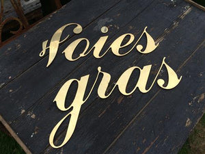 Brass 'Foies gras' Sign