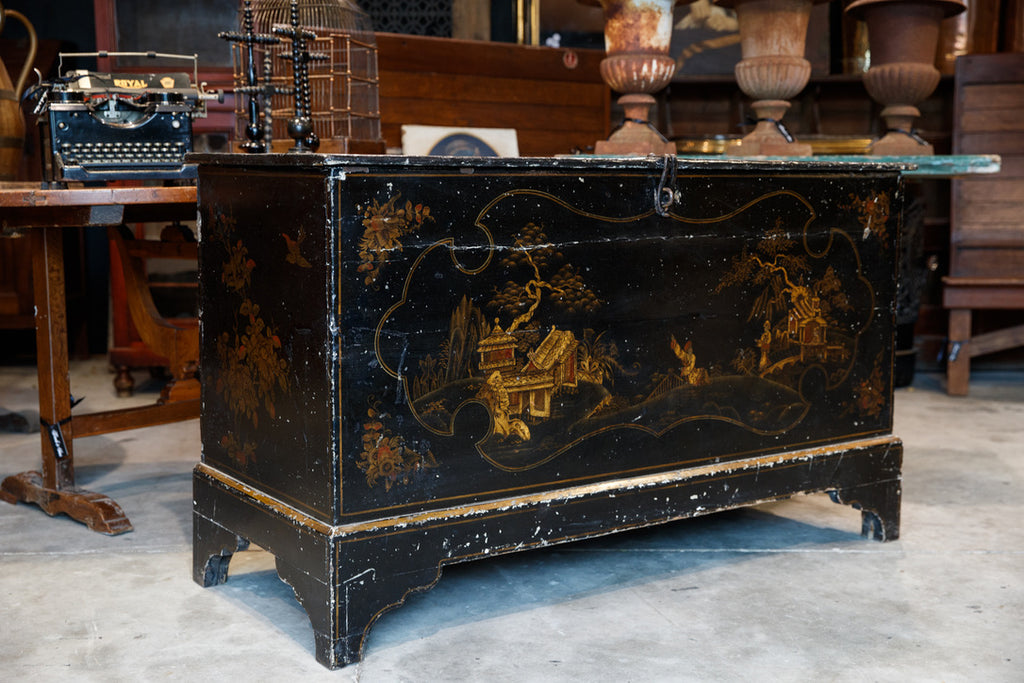 19th Century French Chinoiserie Trunk