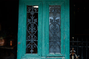 French Farmhouse Door with Wrought Iron Grills