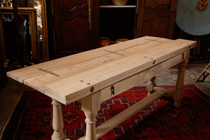 19th Century French Bleached Oak Dining Table /Console