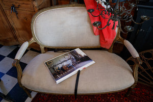19th Century French Linen Sofa