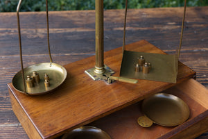 Antique French Oak & Brass Chemist Scales