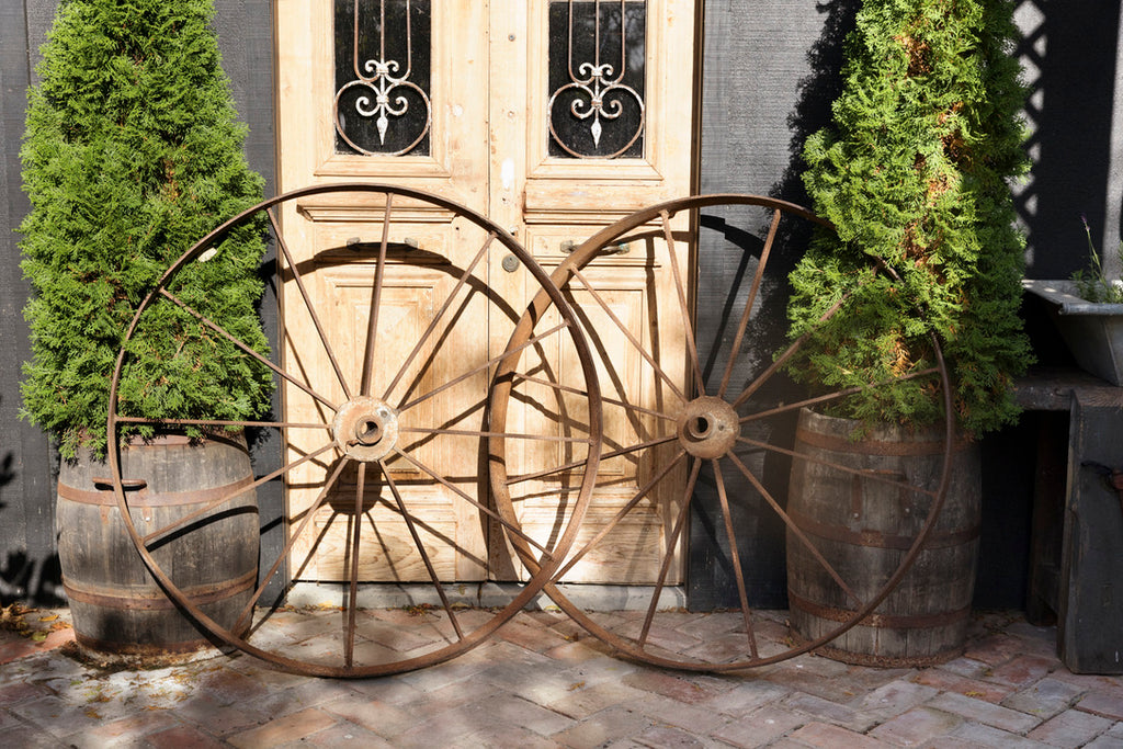 Large Belgium Cast Iron Wagon Wheels