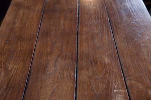 French Wooden Farmhouse Table & Bench Seats