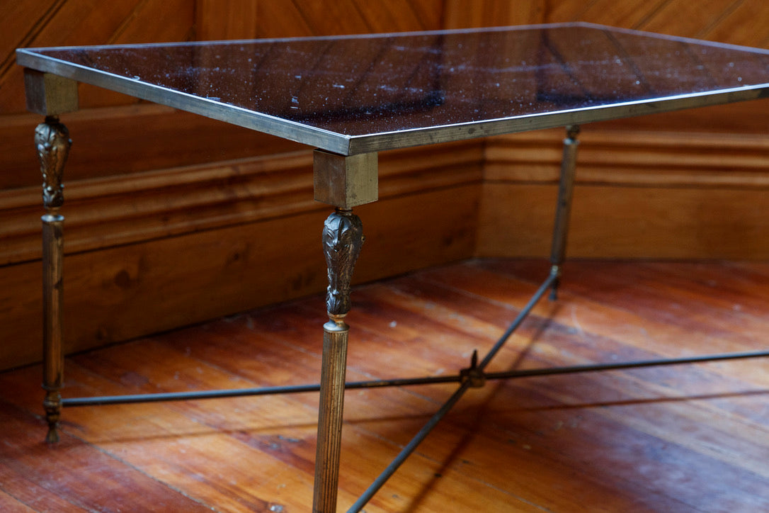 Original French Brass Mid Century Coffee Table