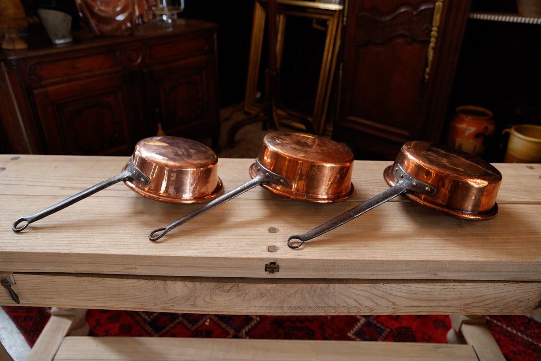 Vintage French Copper Pan Set