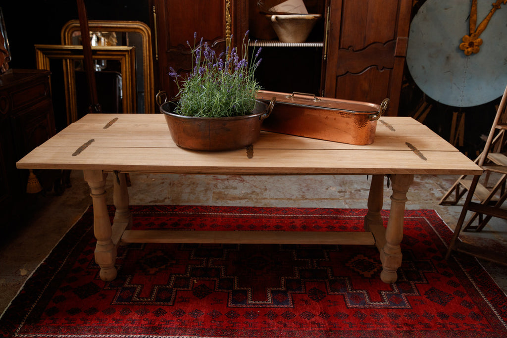 19th Century French Bleached Oak Dining Table Console