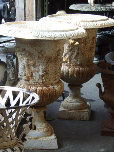 French Cherub Cast Iron Urns