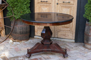 French Empire Style Mahogany & Black Marble Parlour Table