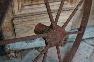 Vintage French Iron Cart Wheels
