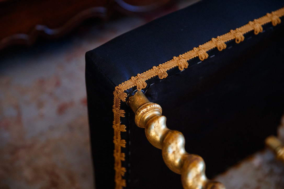 French Gold Gilded Ottoman