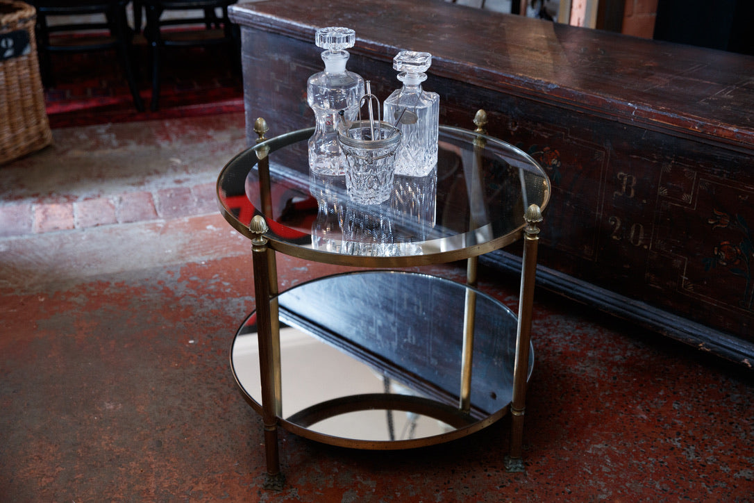 Original French Mid Century Mirrored Salon Table