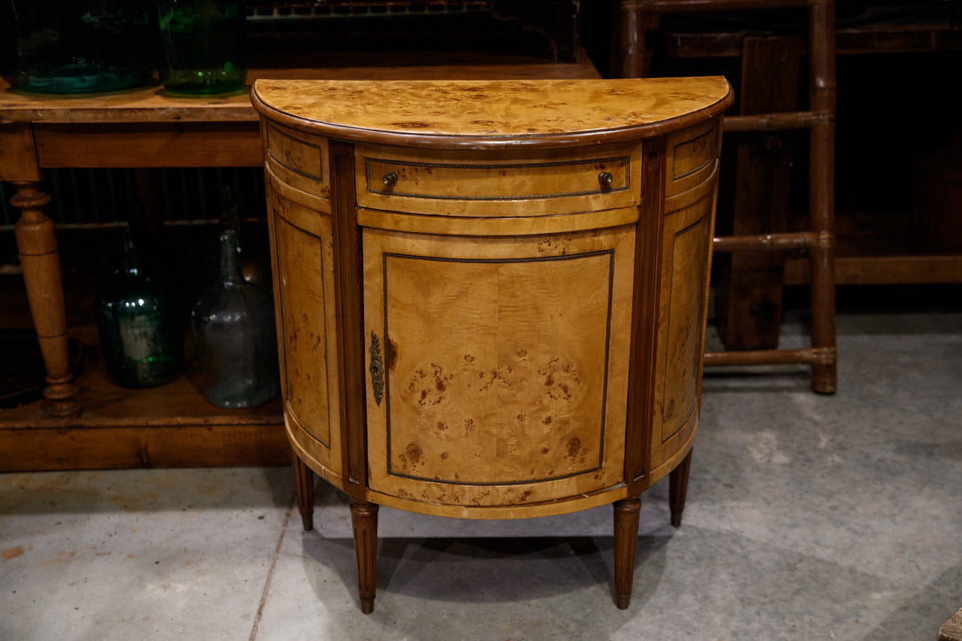 Antique French Half Circle Walnut Veneer Cabinet