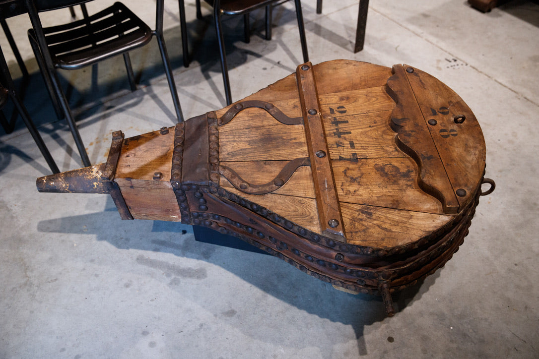 French 19th Century Industrial Blacksmiths Bellows Coffee Table