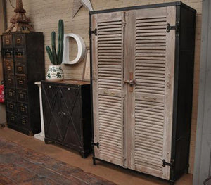 Industrial French Shutter Door Cupboard