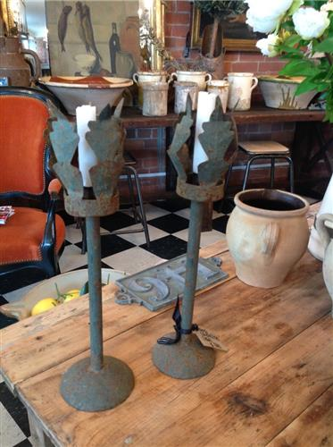 19th Century French Iron Candlesticks