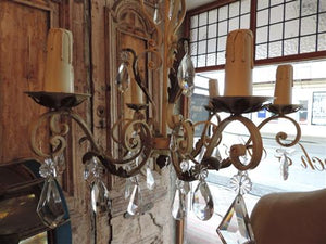 French Crystal Wrought Iron Chandelier