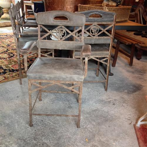 French Wrought Iron & Leather Chairs