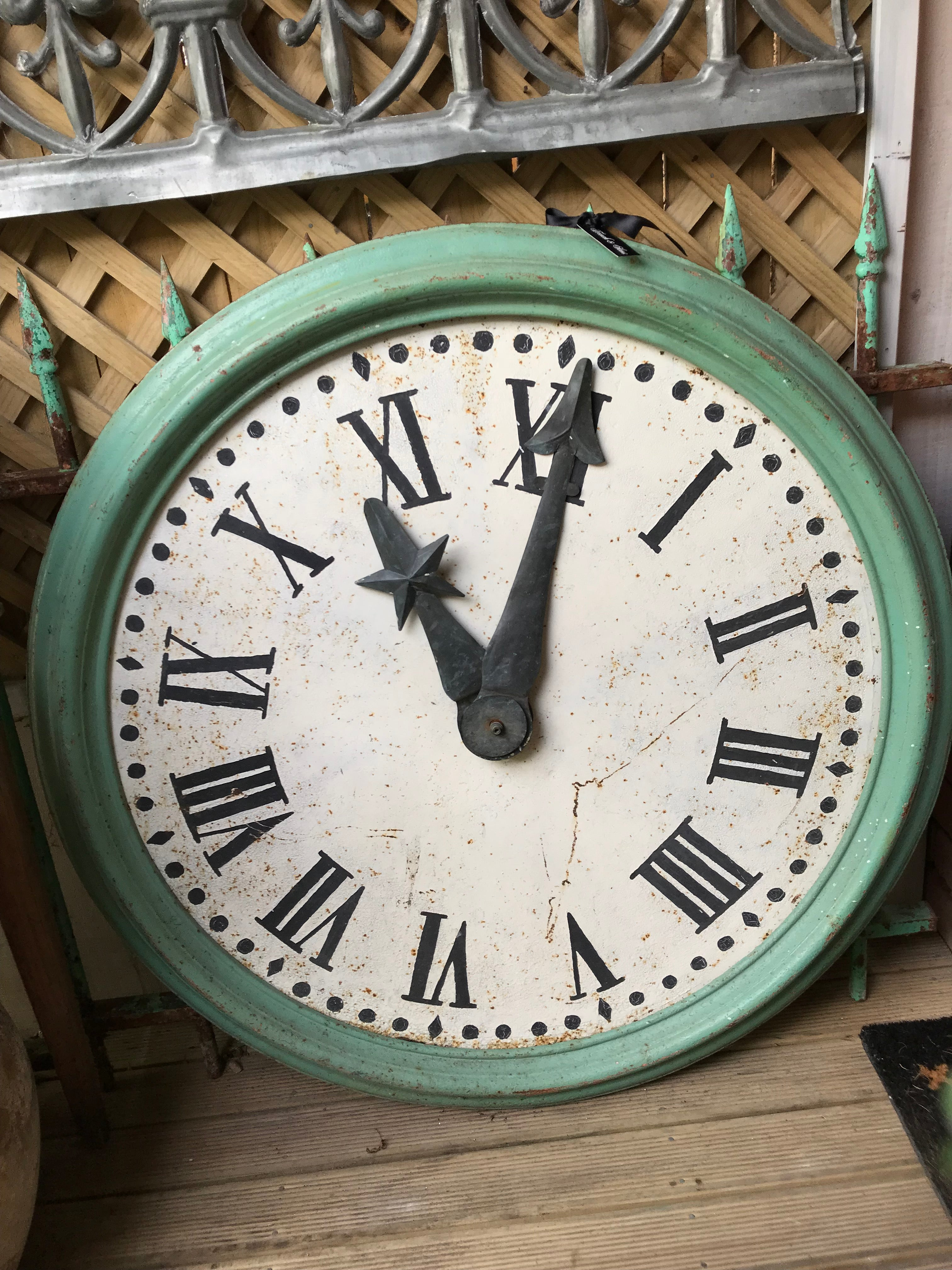 French Green Metal Clock Face