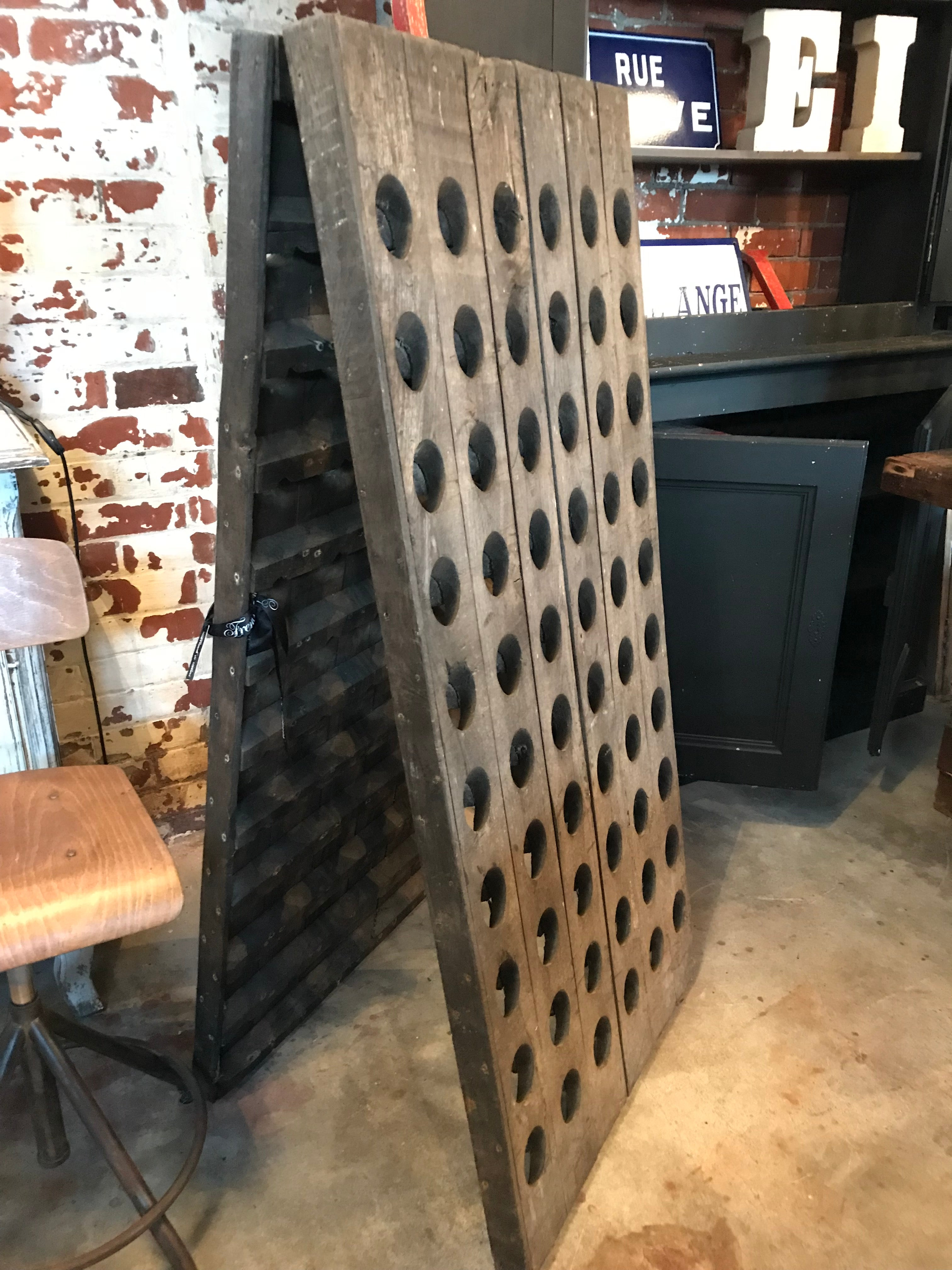 French Wooden Riddling Wine Rack