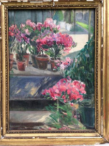 French Oil Canvas - Geraniums