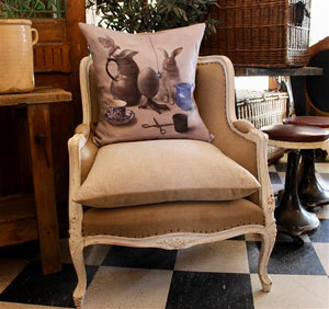 French Oak Linen Chairs