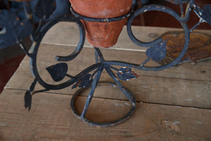 French Wrought Iron Candlestick With Leaf Detail