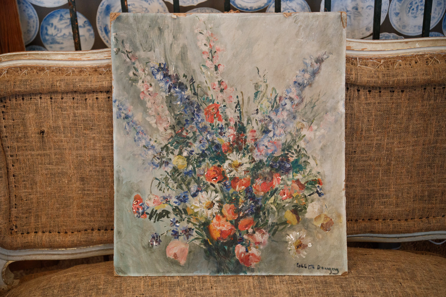 Beautiful Vintage French Oil Canvas On Card