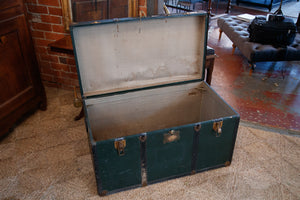 1930's Vintage French Green Trunk