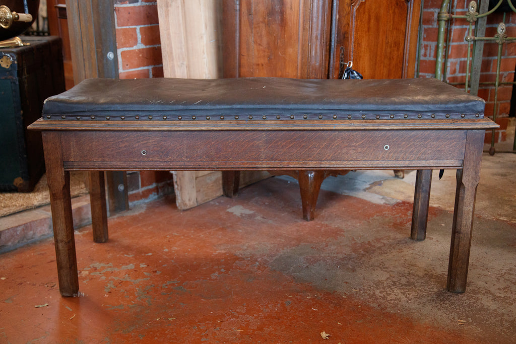 Vintage French Leather & Oak Bench Seat