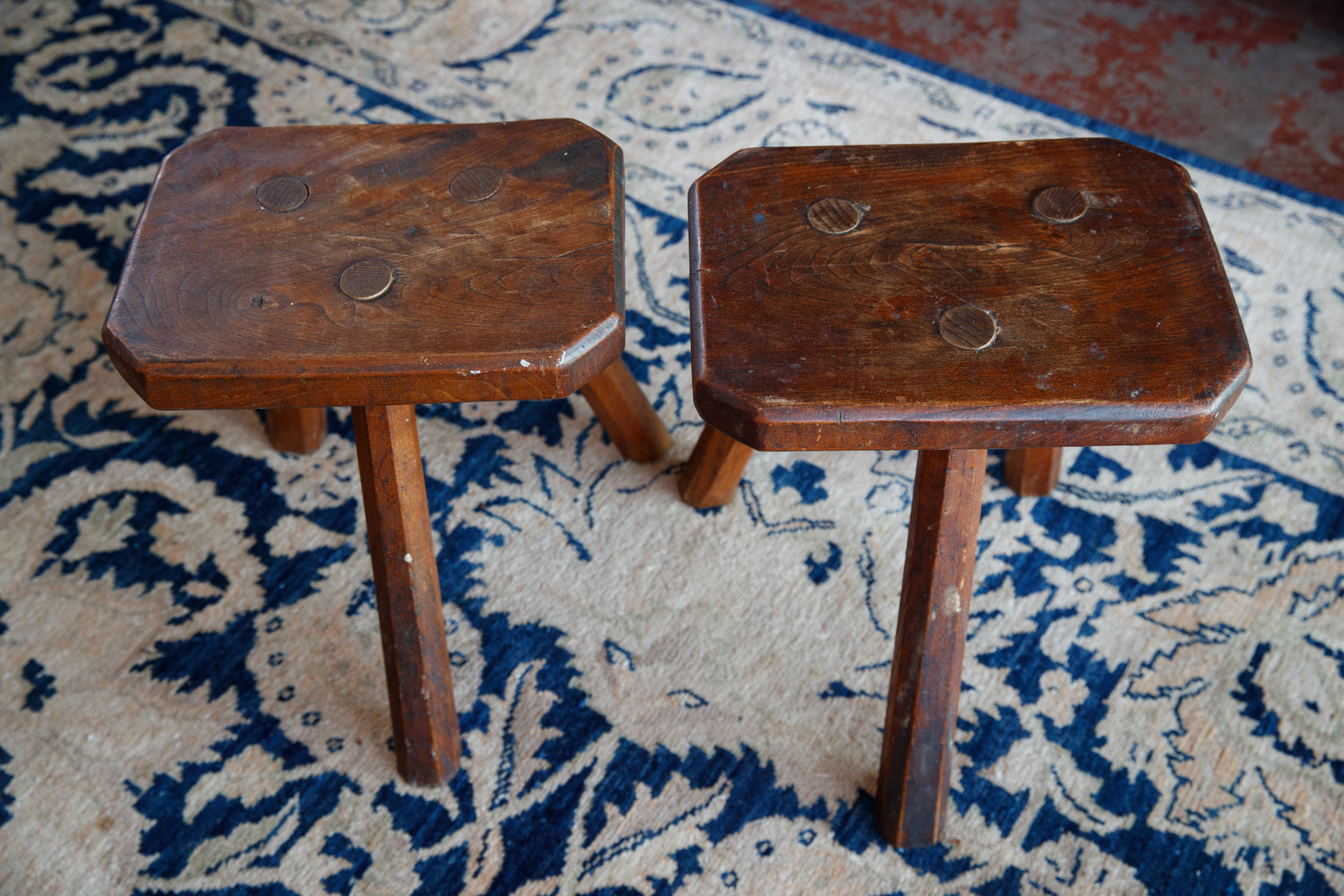 French Oak Milking Stools
