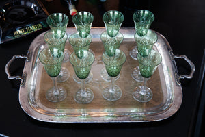 French 1930's Green Crystal Glasses