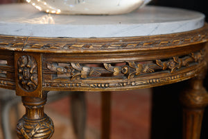 French Gold Gilded Marble Parlour Table
