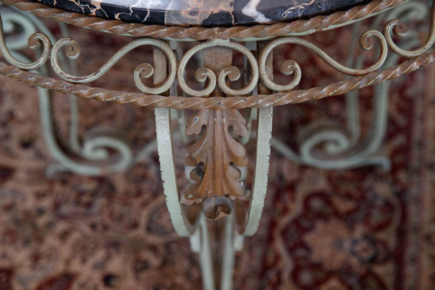 French Wrought Iron & Marble Table