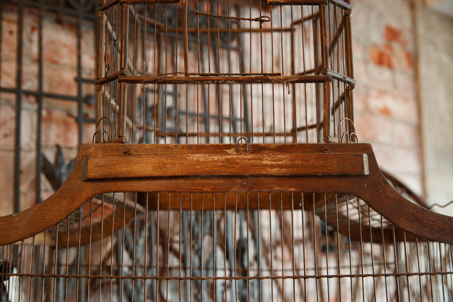 Vintage French Wooden Birdcage