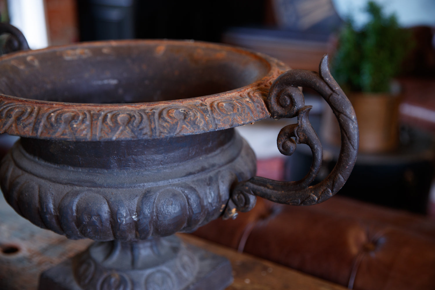 French Cast Iron Urns - Black Aged Patina