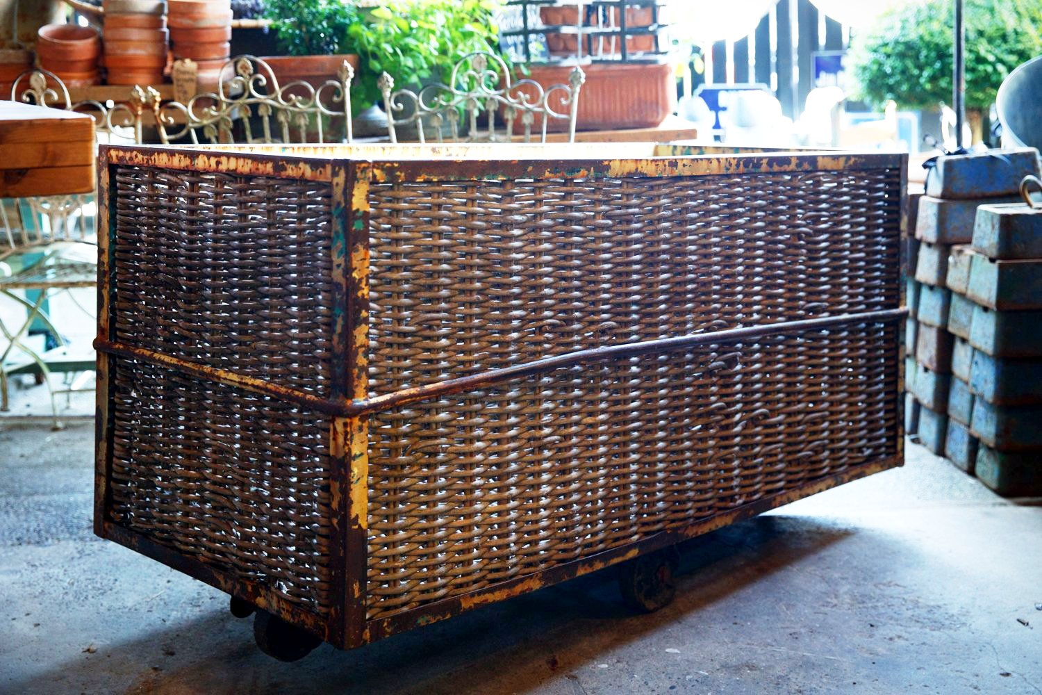 1940's French Industrial Factory Trolley - Firewood Basket
