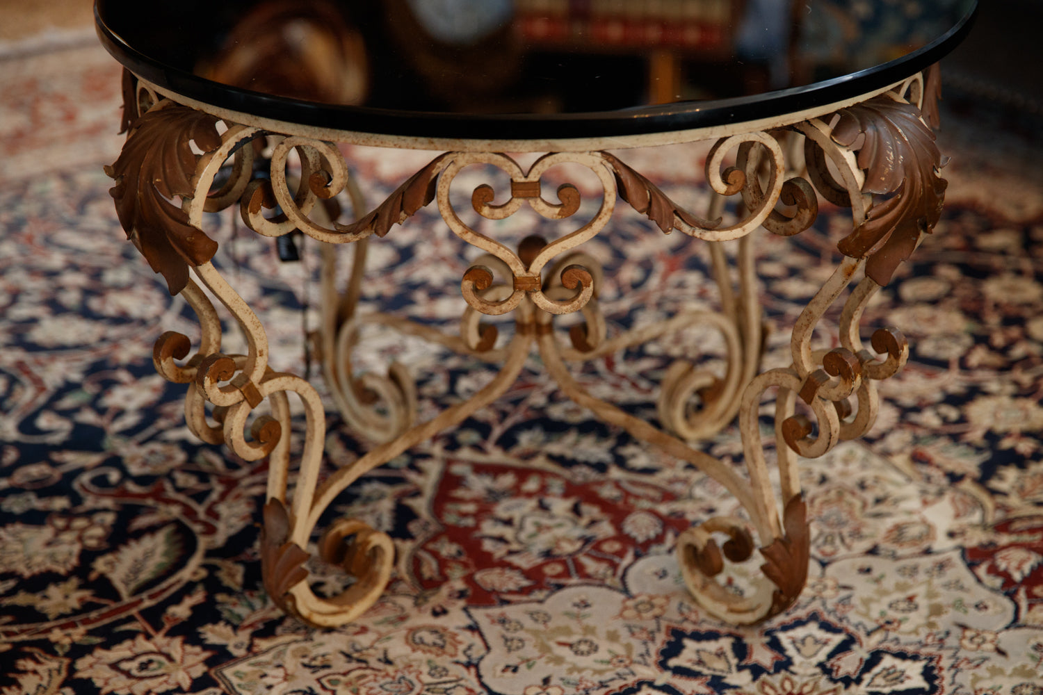 Italian Wrought Iron & Black Glass Table