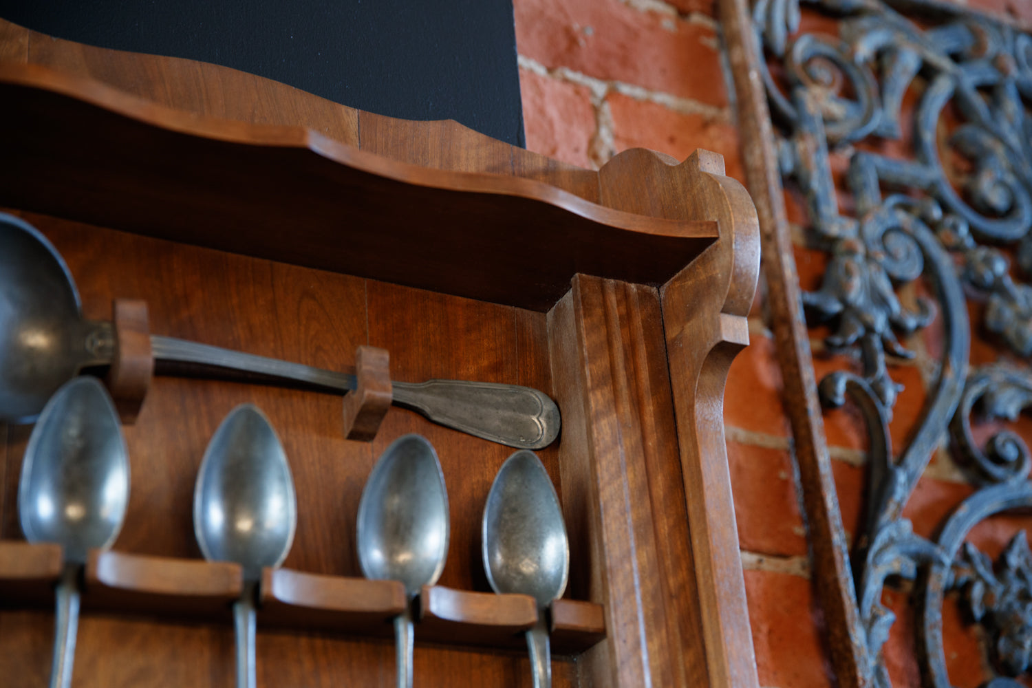 French Pine & Pewter Spoon Rack