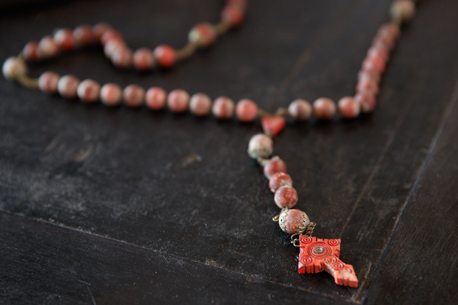 Vintage French Red Wooden Rosary
