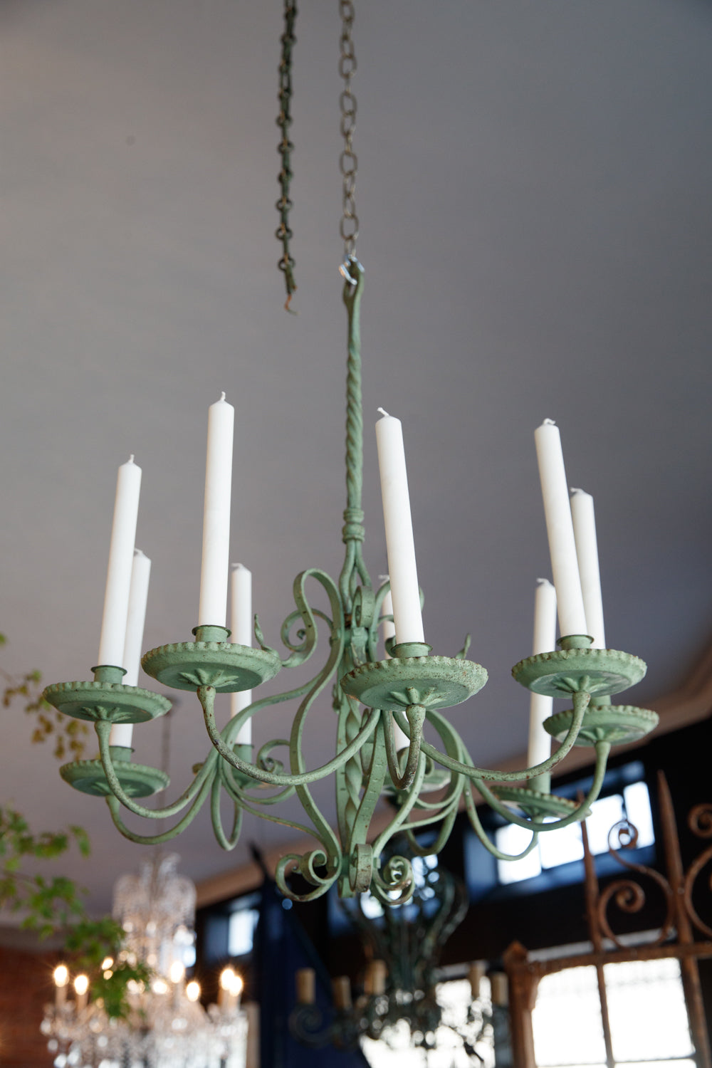 French Green Wrought Iron Candelabra
