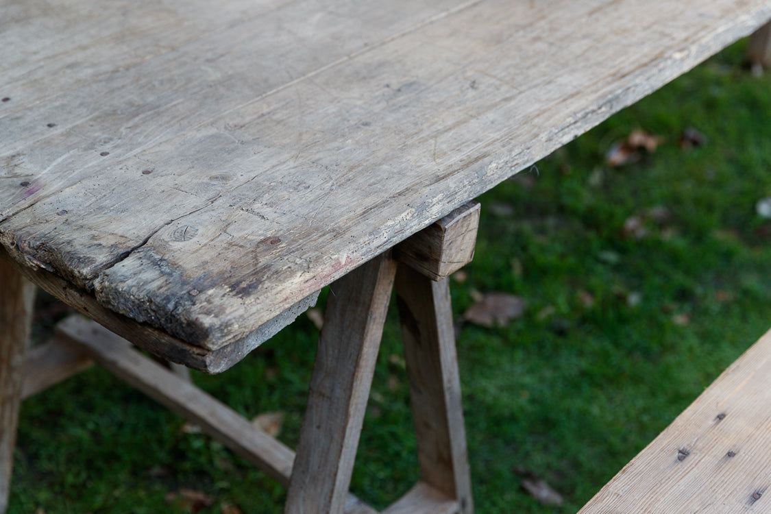 French Harvest Table & Benches