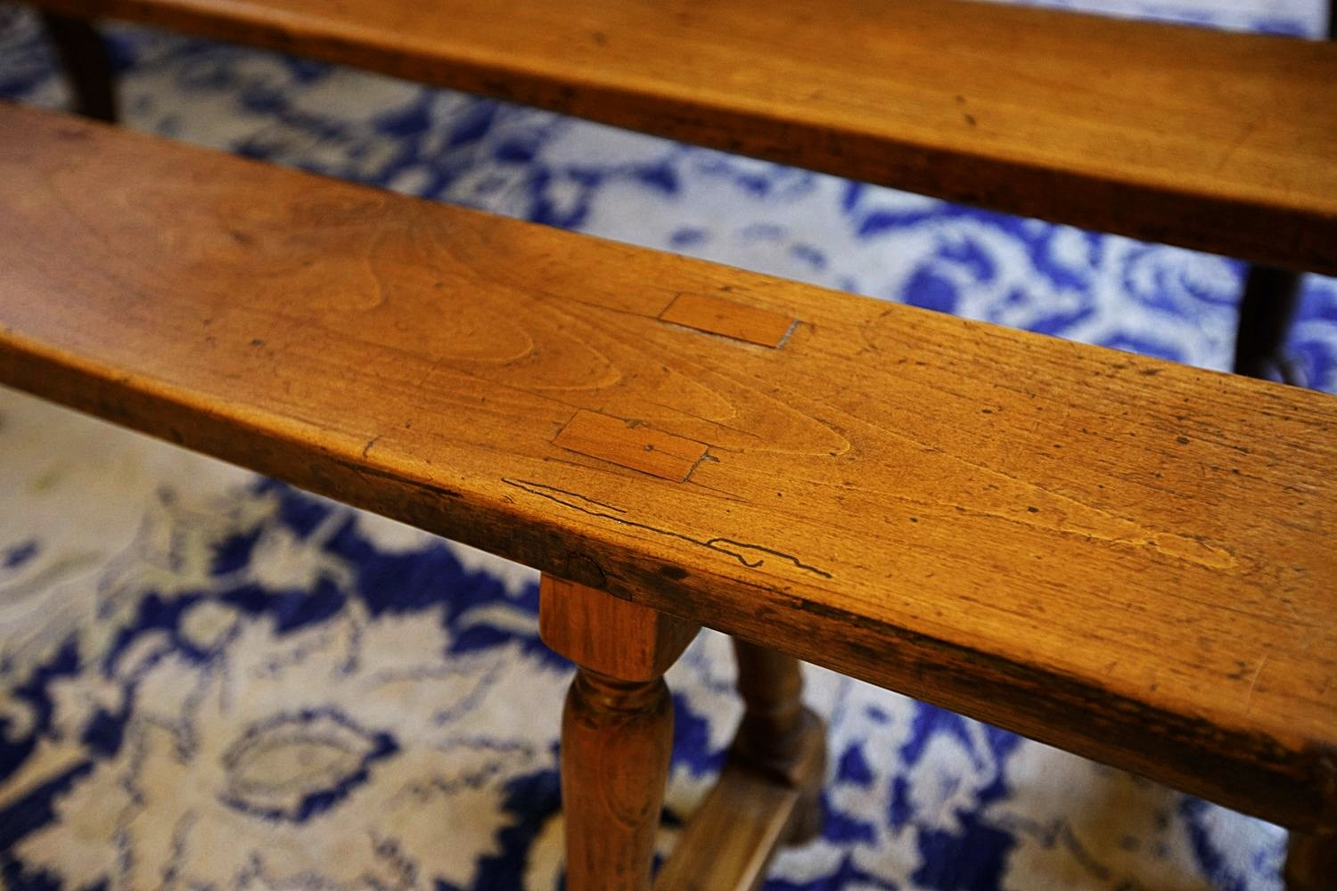 19th Century French Walnut Bench Seats