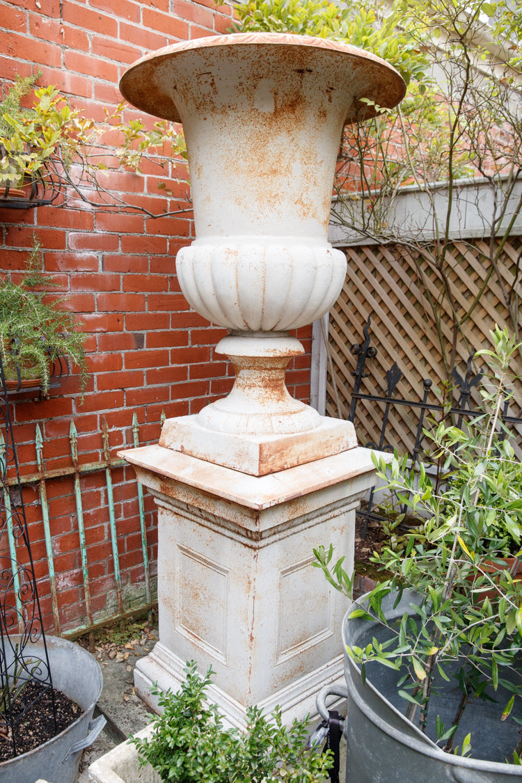 French Chateau Large Iron Urns & Pedestals