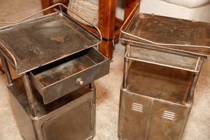1930's French Industrial Bedside Tables