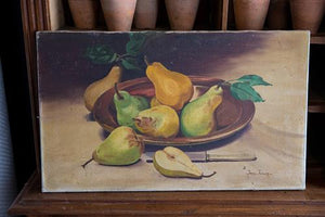 French Oil Canvas Pears