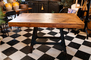 French Industrial Factory Steel Table