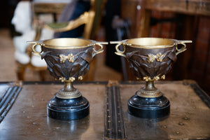 French Marble & Bronze Mantle Urns